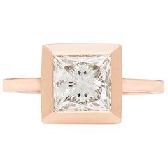 GIA 2.02 Carat Princess Cut Diamond Rose Gold Ring