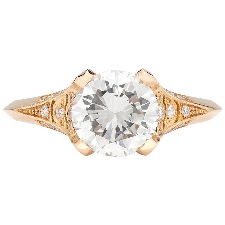 Custom French Ring Featuring GIA 1.53 Carat Round Diamond