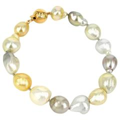 Baroque South Sea and Tahitian Pearl Bracelet