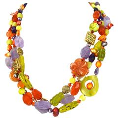 Amethyst Carnelian Jade Coral Freshwater Pearl Agate Three Strand Necklace