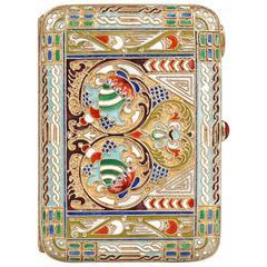 Antique Russian Revival Shaded Cloisonné Enamel Cigarette Case