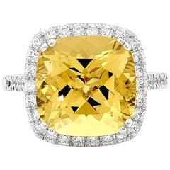 6.75 Carat Cushion Cut Heliodor Diamonds White Gold Ring