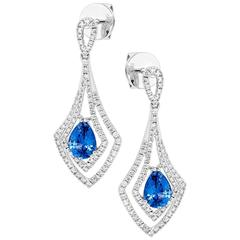 Pear Shape Blue Sapphire and Diamonds Drop Earrings