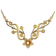 Antique Victorian Gold Pearl Necklace 15 Carat Gold, circa 1900