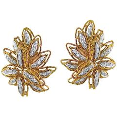 Pair of Diamond and 18 Carat Rose Gold Earclips by Vourakis