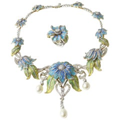 Plique-a-Jour Enamel Pearl Diamond Flower Necklace and Ring Suite