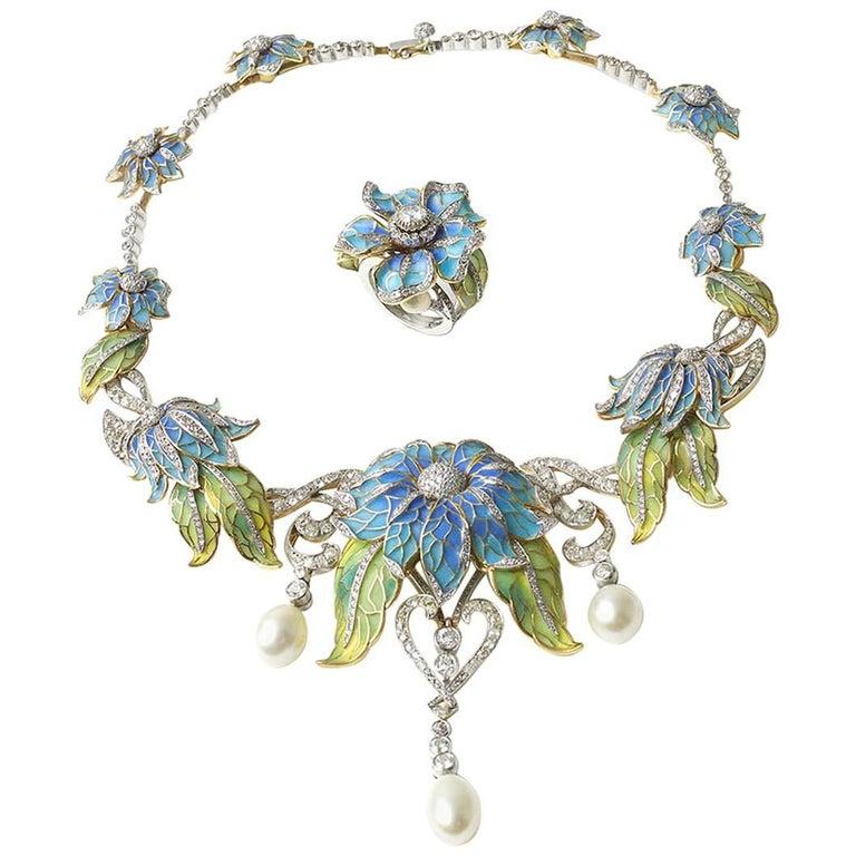 Plique-a-Jour Enamel Pearl Diamond Flower Necklace