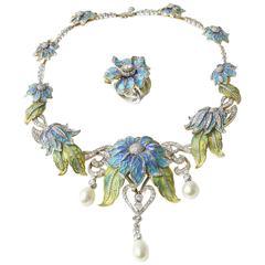Plique-a-Jour Enamel Pearl Diamond Flower Necklace and Ring Suite
