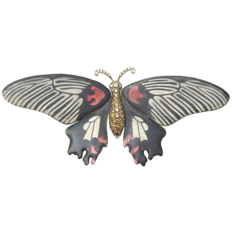 Enamel diamond Butterfly Brooch