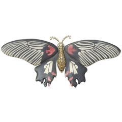 Enamel diamond Butterfly Brooch