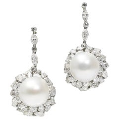 South Sea Pearl and Diamond White Gold Earrings