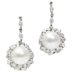 South Sea Pearl Diamond White Gold Earrings