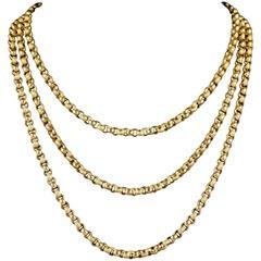 Antique Georgian Long Guard Chain 18 Carat Gold, circa 1780
