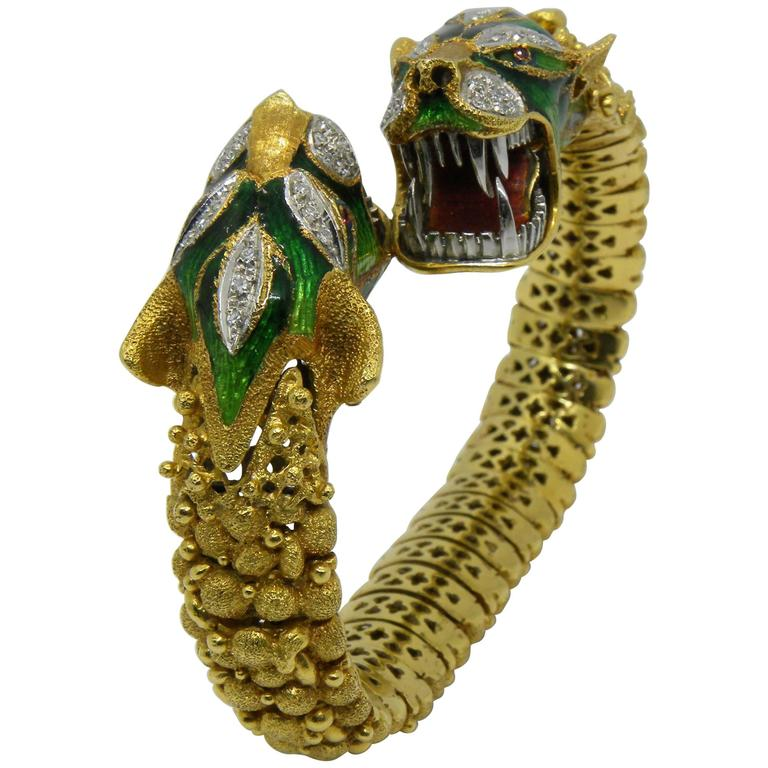 Italian Early 1960s Diamond Ruby Enamel Gold Beast Snake Bracelet