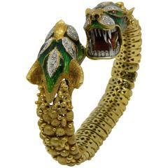 Italian Early 1960s Diamond Ruby Enamel Gold Beast Snake Bracelet