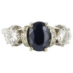 1900s French White Gold Diamond Sapphire Ring