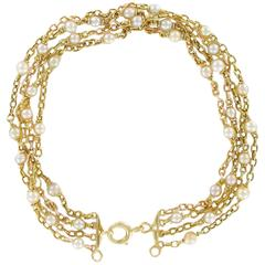 French 1900s Gold Belcher Chain and Pearl Antique Bracelet