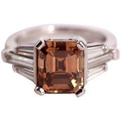 Unique 4.32 Carats Emerald Cut Chocolate Diamond, 18K White Gold Ring