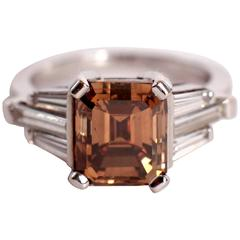 Marion Jeantet 4.32 Carat Emerald Cut Chocolate Diamond Gold Ring