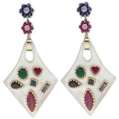 Ruby Sapphire Emerald Diamond Gold Mother-of-Pearl Earrings