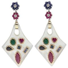 Luise Ruby Sapphire Emerald Diamond Gold Mother-of-Pearl Earrings