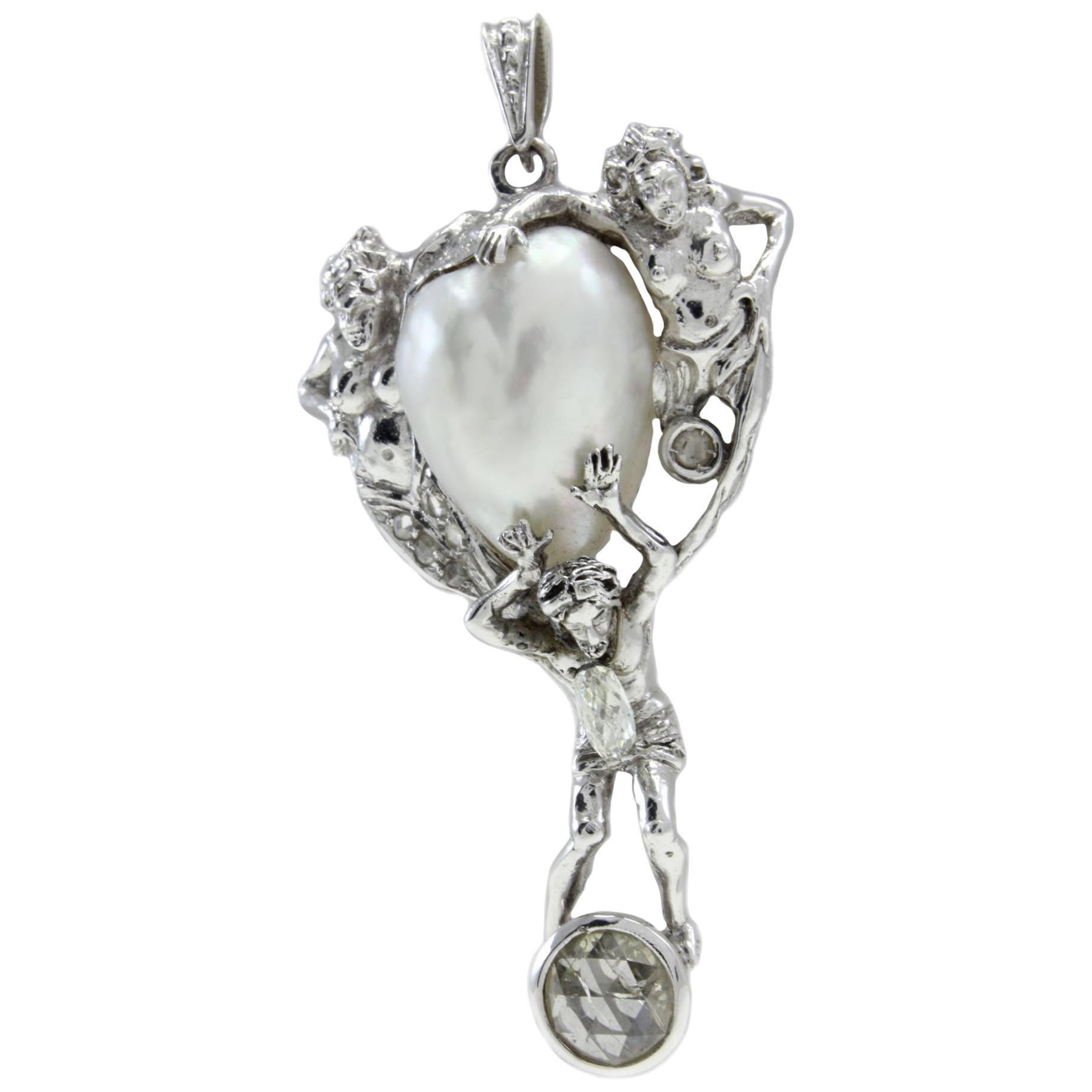 Diamond Pearl White Gold Pendant Necklace
