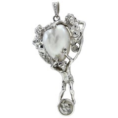 Gold Diamond Pearl Pendant