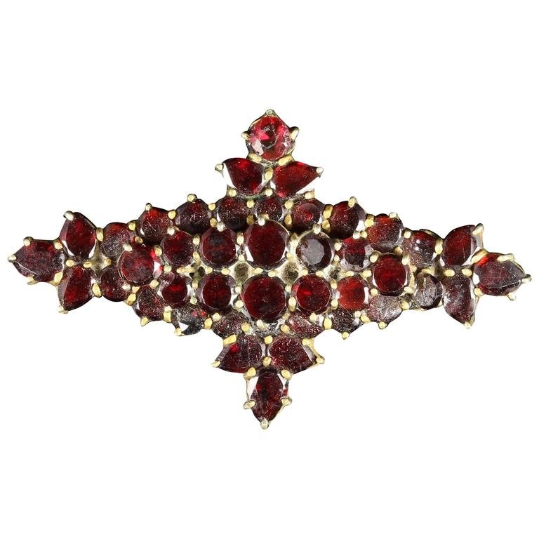 Antique Victorian Garnet Gold Brooch, circa 1890