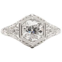 Handmade 1.20 Carat Diamond Platinum Floral Filigree Engagement Ring