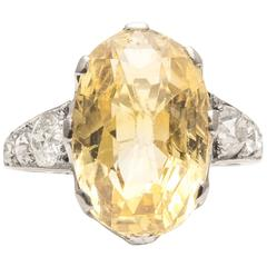 Edwardian 11.60 Carat Yellow Sapphire Diamond Platinum Ring