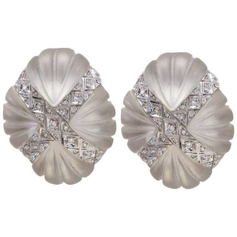 Luise Gold Diamond Rock Crystal Clip-On Earrings