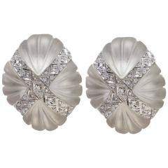 Luise Gold Diamond Rock Crystal Clip-On Earrings