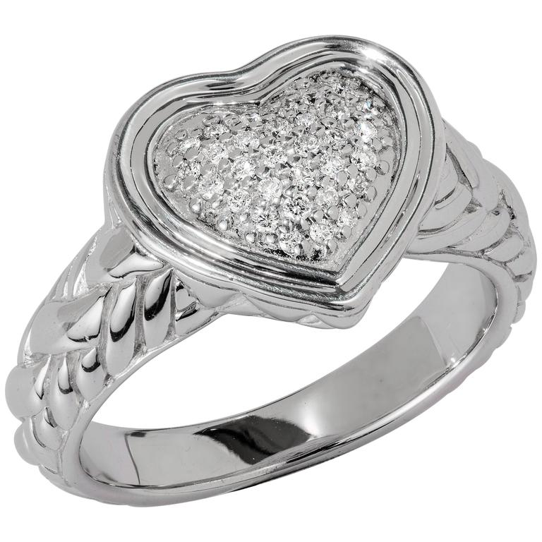 John Hardy Sterling Silver and 0.15 Carat Diamond Heart Ring
