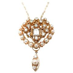 Pearl Diamond Yellow Gold Brooch Pendant Necklace