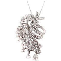 Platinum Diamond Brooch or Pendant