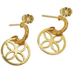 John Hardy Sterling Silver Yellow Gold Circle Drop Earrings