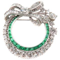 Platinum Emerald and Diamond Circle Brooch/Pendant