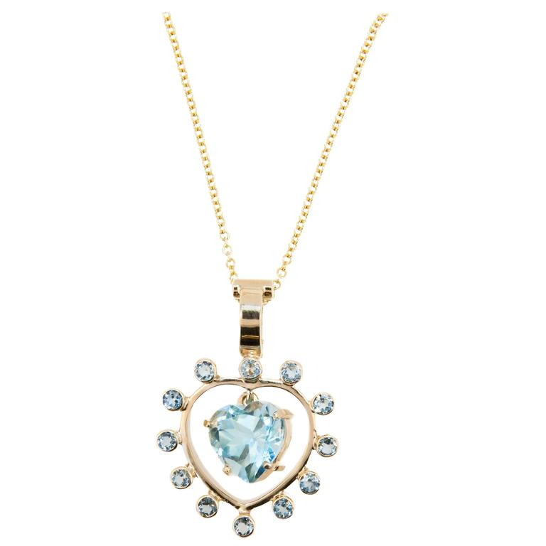 Laura Munder Blue Topaz Heart Shaped Yellow Gold Pendant and Chain For Sale
