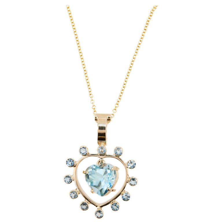 Laura Munder Blue Topaz Heart Shaped Yellow Gold Pendant and Chain