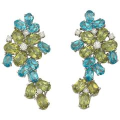 Peridot Topaz  Diamond Gold Earrings