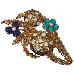 1960s Turquoise Lapis Diamond Gold Brooch