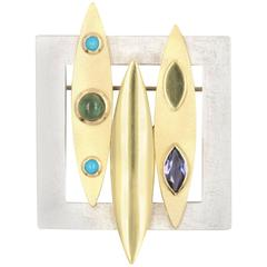 Iolite Tourmaline Turquoise Silver Gold Brooch