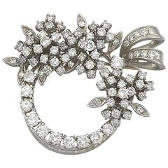 1950s Diamond Wreath Brooch Pendant