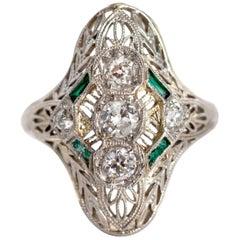 1930s .50 Carat Diamond Emerald Platinum Engagement Ring