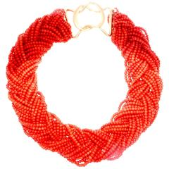 Coral Bead Braided Gold Necklace