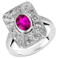 1.58 Carat Pink Sapphire Diamond Gold Ring