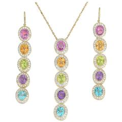 Eli Frei Gemstone Diamond Earrings Necklace Set