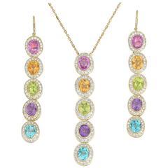 Eli Frei Gemstone Diamond Earrings Necklace Set