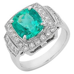 3.07 Carat Emerald Diamond White Gold Halo Ring