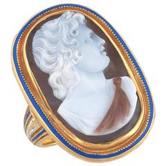 1790s Neoclassical Onyx Cameo of Paris Ring